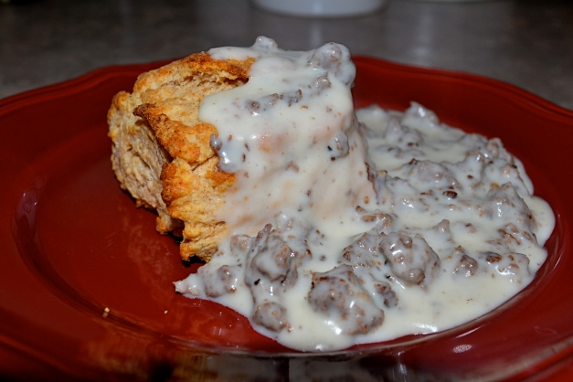 Biscuits, Gravy and Elk Sausage